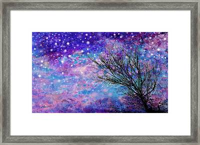 Winter Starry Night Framed Print by Ann Powell