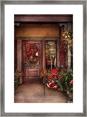 Winter - Store - Metuchen Nj - Dressed For The Holidays Framed Print by Mike Savad