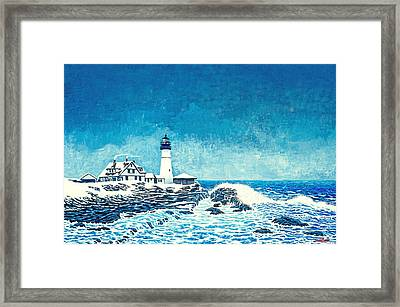 Winter Storm Watch Framed Print by David Linton