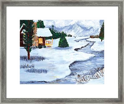 Winter Stream 2014 Framed Print by Anja Eriksen