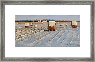 Winter Stubble Bales Framed Print by Bruce Morrison
