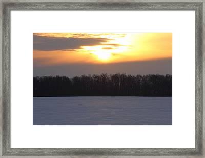 Winter Sunrise Over Forest Framed Print by Dan Sproul