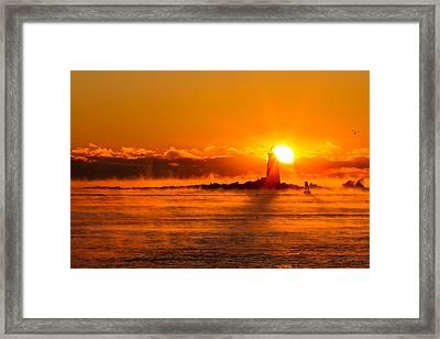 Winter Sunrise Whaleback Light Framed Print by Jeff Sinon