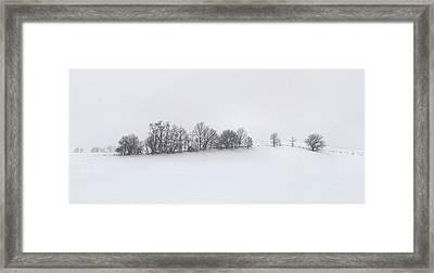 Winter Tree Line In Indiana Framed Print by Julie Dant