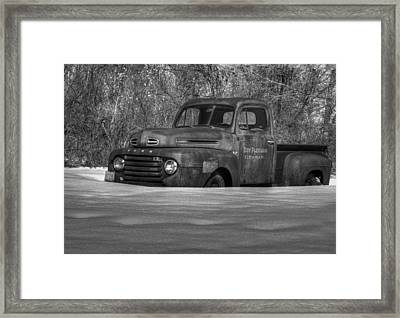 Winter Truck In Black And White Framed Print by Thomas Young