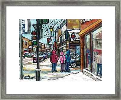 Winter Walk Snowy Day Rue Wellington Verdun Street Scene Paintings Montreal Urban Landscape Cspandau Framed Print by Carole Spandau