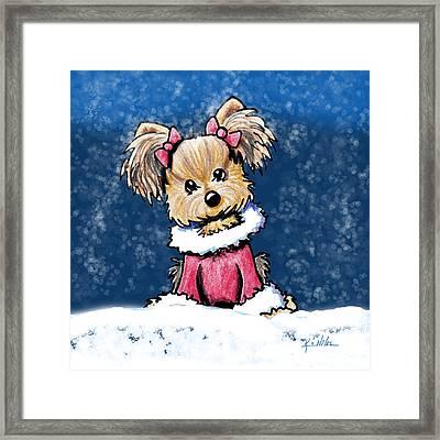 Winter Whimsy Yorkie Terrier Framed Print by Kim Niles