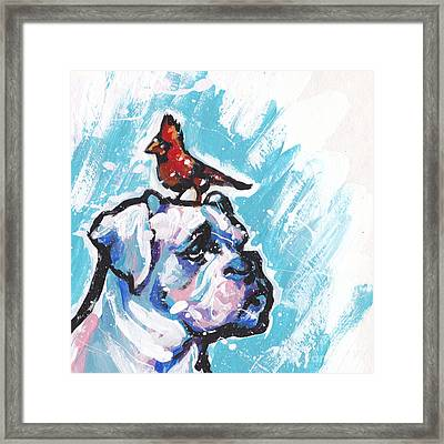 Winter White Boxer Framed Print by Lea S