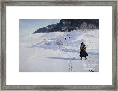 Winter With Skier Framed Print by Frits Thaulow