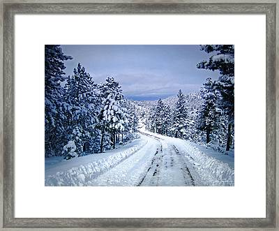 Winter Woodland Photo -country Roads Take Me Home -mountain Landscape -nature Framed Print by Julie Magers Soulen