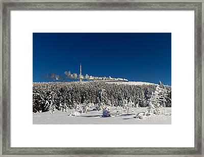 Winterly Brocken Mountain With Stream Train Framed Print by Christian Spiller