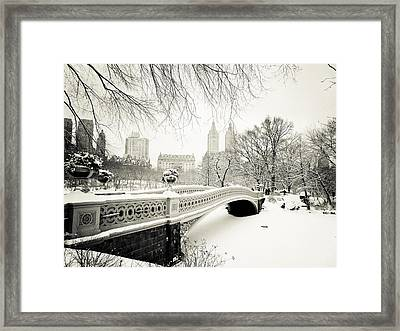Winter's Touch - Bow Bridge - Central Park - New York City Framed Print by Vivienne Gucwa