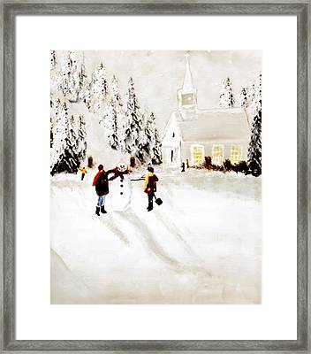 Wintertime In Pine Village Framed Print by Chastity Hoff