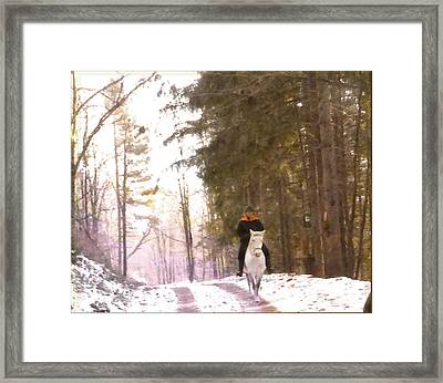 Wintertime Moment-the Chemistry Between Horse And Rider Framed Print by Patricia Keller
