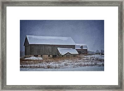 Wintry Barn Framed Print by Joan Carroll