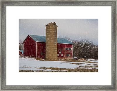 Wintry Day On The Farm 2 Framed Print by Kathleen Scanlan