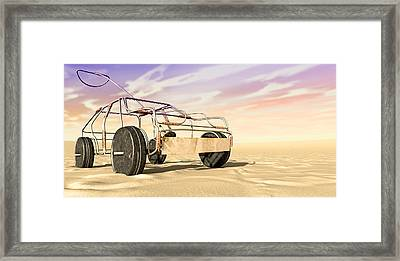 Wire Toy Car In The Desert Perspective Framed Print by Allan Swart