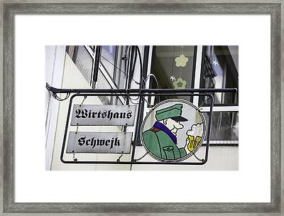 Wirtshaus Schwejk Brauhaus Sign Cologne Germany Framed Print by Teresa Mucha