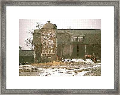 Wisconsin Barn With Silo Framed Print by Robert Birkenes