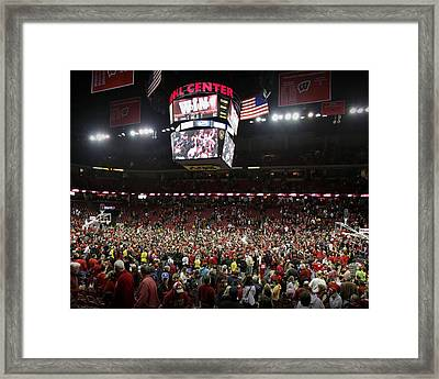 Wisconsin Fans Rush The Court At The Kohl Center Framed Print by Replay Photos