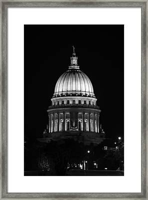 Wisconsin State Capitol Building At Night Black And White Framed Print by Sebastian Musial