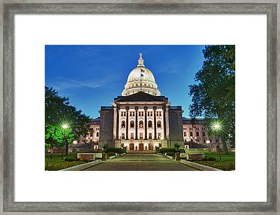 Wisconsin State Capitol Building At Night Framed Print by Sebastian Musial