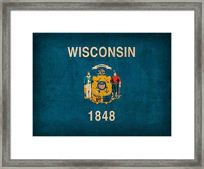 Wisconsin State Flag Art On Worn Canvas Framed Print by Design Turnpike