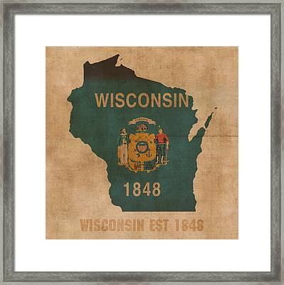 Wisconsin State Flag Map Outline With Founding Date On Worn Parchment Background Framed Print by Design Turnpike