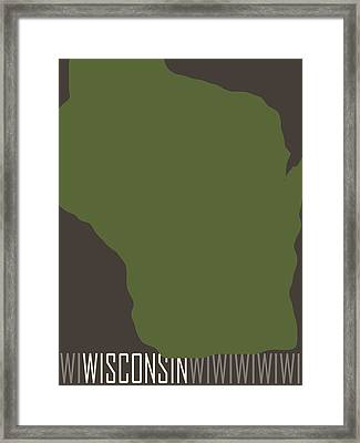 Wisconsin State Modern Framed Print by Flo Karp