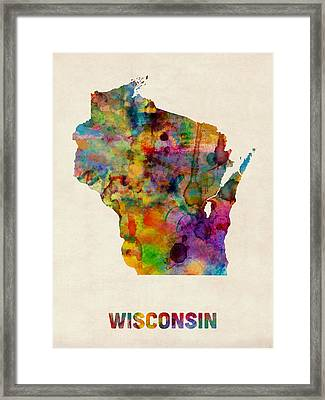 Wisconsin Watercolor Map Framed Print by Michael Tompsett