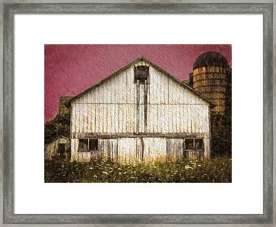 Wisconsin White Barn Textured Framed Print by Kathleen Scanlan