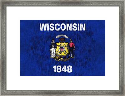 Wisconsin Flag Framed Print by World Art Prints And Designs