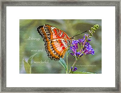 Wise And Wonderful Framed Print by Karen Stephenson