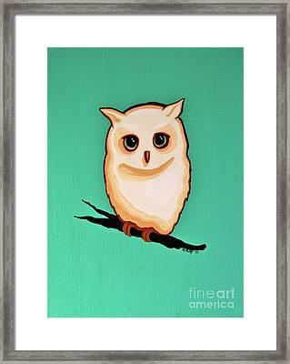 Wise Little Owl Framed Print by Rebecca Mott