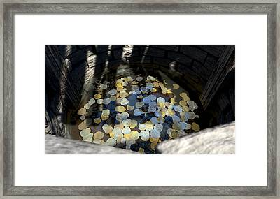 Wishing Well With Coins Perspective Framed Print by Allan Swart