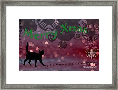 Wishing You All A Purrfect Xmas... Framed Print by Nina Stavlund