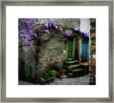 Wisteria On Stone House Framed Print by Lainie Wrightson