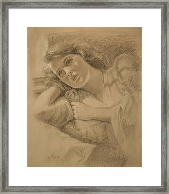 Wistful - Drawing Framed Print by Sarah Parks