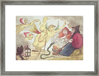 Witches In A Hayloft Engraving Framed Print by Thomas Rowlandson
