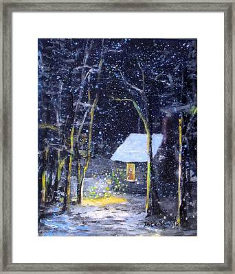 Wintery  Night At Thoreau's Cove Framed Print by Jack Skinner