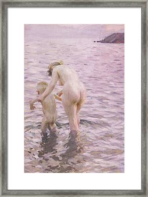 With Mother Framed Print by Anders Leonard Zorn