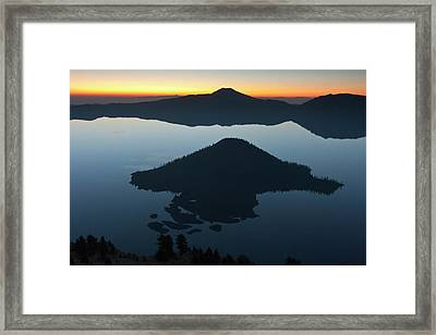Wizard Island At Dawn, Crater Lake Framed Print by William Sutton