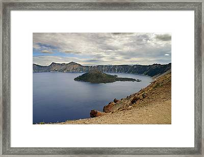 Wizard Island - Crater Lake Oregon Framed Print by Christine Till