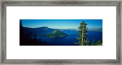 Wizard Island In Crater Lake, Oregon Framed Print by Panoramic Images