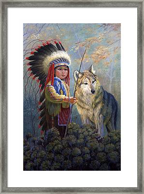 Wolf Boy Framed Print by Gregory Perillo