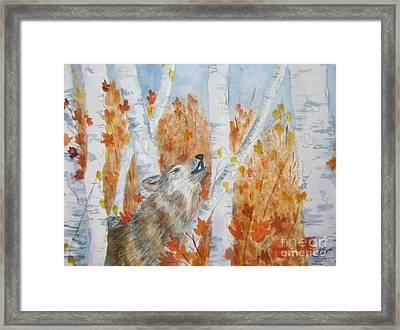 Wolf Call Framed Print by Ellen Levinson