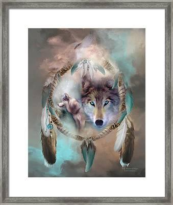 Wolf - Dreams Of Peace Framed Print by Carol Cavalaris