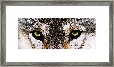 Wolf Eyes Framed Print by Sharon Cummings