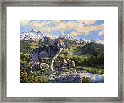 Wolf Painting - Passing It On Framed Print by Crista Forest