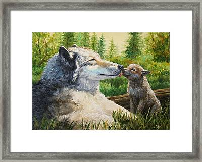 Wolf Painting - Spring Kisses Framed Print by Crista Forest